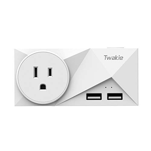 WiFi Smart Plug Outlet 15A with Energy Monitoring Dual USB Ports(2.1A Shared), Compatible with Alexa and Google Home, Nest,IFTTT, Remote Control, Timer Function, No Hub Required, ETL Listed, White