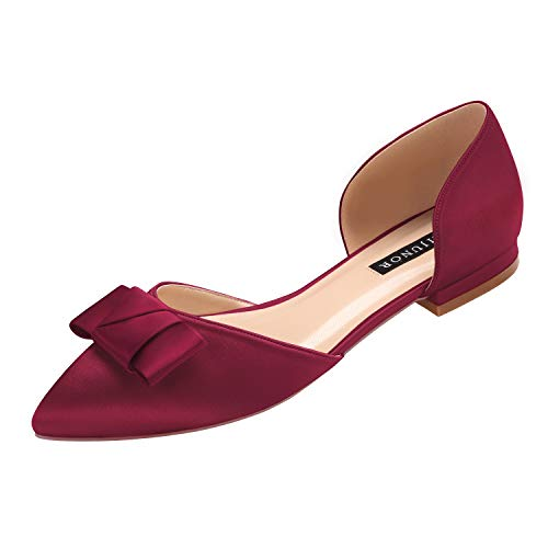 ERIJUNOR E0081A Comfortable Low Heel Wedding Shoes with Bow Knot D'Orsay Pointy Toe Flats Burgundy Size 11