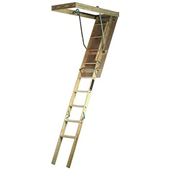 Louisville Ladder S224P 250 Pound Duty Rating Wooden Attic Ladder Fits  7 Foot To