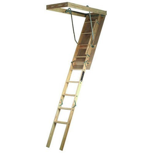 Louisville Ladder S224P 250 Pound Duty Rating Wooden Attic Ladder Fits  7 Foot To 8 Foot 9 Inch Ceiling Height, 22.5 By 54 Inch Rough Opening