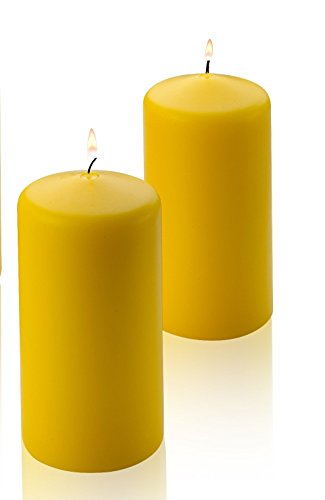 2 Yellow Citronella Scented Pillar Candle 6 Inch Tall X 3 Inch Wide