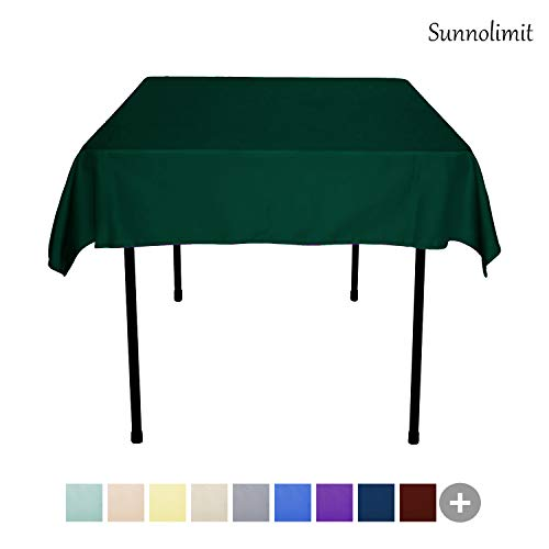 Sunnolimit Tablecloth - 54 x 54 Inch -Hunter Green-Square Polyester Table Cloth, Wrinkle,Stain Resistant - Great for Buffet Table, Parties, Holiday Dinner & More ()
