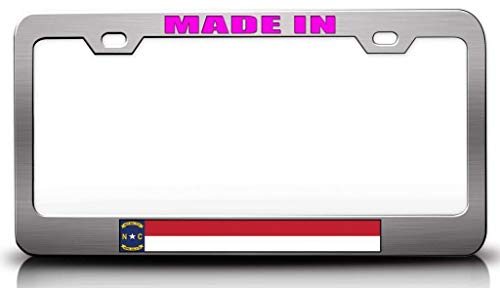Customola - Made in North Carolina State Flag Steel Metal License Plate Frame Ch