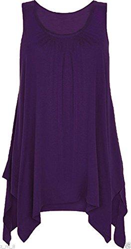 maniche svasata Top falda senza Purple tunica da a asimmetrica con donna 8XF6q