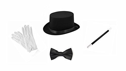 Adult Magician Top Hat Wand White Gloves Bow Tie Set Fancy Dress Outfit by Wicked Wicked (Fancy Dress Magician)