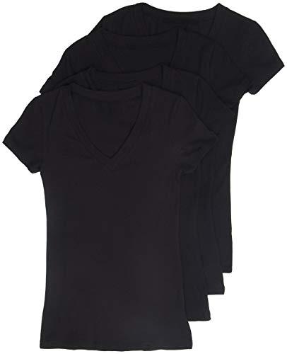 4 Pack Zenana Women's Basic V-Neck T-Shirts Small Black, Black, Black, Black ()