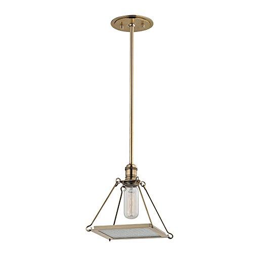 (Hudson Valley 3521-AGB, Thorndike Mini Square Energy Star Pendant, 1 Light, Brass)