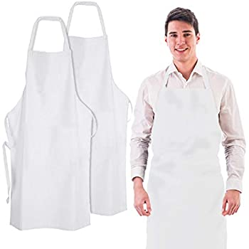 Wealuxe Professional White Bib Aprons   32x28 Inch   White   2 Pack