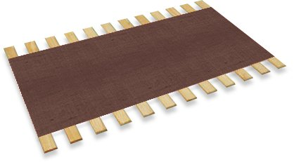 The Furniture Cove Queen Size Custom Width Bed Slats With Brown Burlap Fabric-Choose Your Needed Width To Help Support Your Box Spring And Mattress