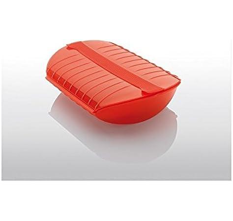 Lékué Estuche de Vapor para el microondas, Color Rojo con una Capacidad de 1400 ml (3-4 Personas): Amazon.es: Hogar