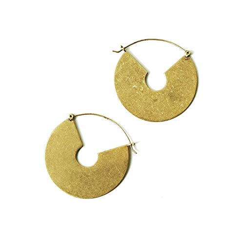 18K Gold Plated Tribal Bohemian Round Disc Earrings for Women Coin Dangling Drop (Round Drop without Pearl)