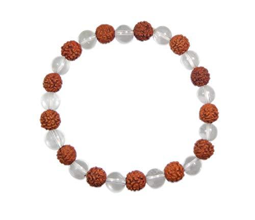 (Myhealingworld Rudraksha & Crystal Gemstone 7mm Bead Size Stretchable Bracelet For Healing Energy.)
