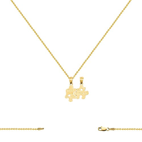 14k Yellow Gold Best Friends Charm with Cable Chain Necklace 16-24 Inch