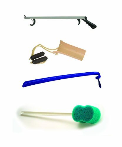 4 Piece Hip Kit with 32� Aluminum Reacher, Shoehorn, Formed Handle Sock Aid & Bath Sponge # 2286T by Complete Medical (Image #1)