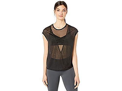(Alo Yoga Women's Descent Short Sleeve Top Black XS & Cooling Towel Bundle)