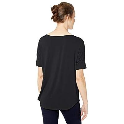 Brand - Daily Ritual Women's Jersey Rib Trim Drop-Shoulder Short-Sleeve Scoop-Neck Shirt: Clothing