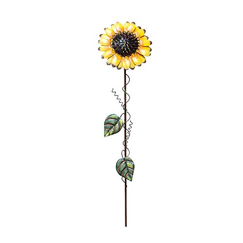 "Y&K Decor Metal Sunflower Garden Stake Flower Yard Stake Decor (21"")"