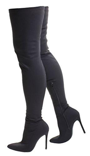 Pointu Zip London Chaussures Fit Noir Lycra Wide Slim Talon High Tilly 6 Bottes Heil 5 8 Stretch Stiletto 4 Toe 7 Sexy 9 Calf Up Tailles Femmes 3 Black wIdxxaqT