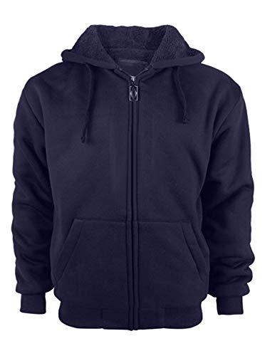 Heavyweight Zip Hood - GEEK LIGHTING Mens Performance Full Zip Outdoor Warm Fleece Hoodie Jacket (XXXX-Large, Navy)