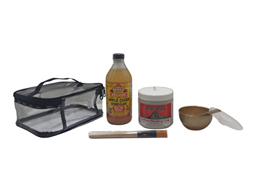 Indian Healing Clay Deep Pore Cleansing Bundle Set Bentonite Clay, Apple Cider Vinegar, Face Mask Tool Kit with convenient clear Train Case and FREE APPLICATION BRUSH