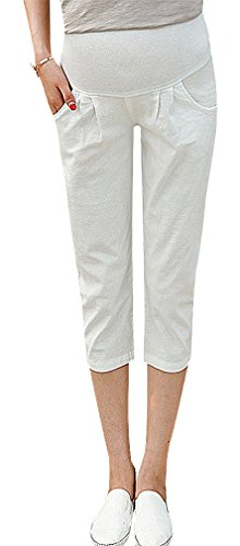 (Hibukk Women Full Panel Pocketed Solid Color Slim Fit Crop Maternity Pants, White XS,Manufacturer(M))