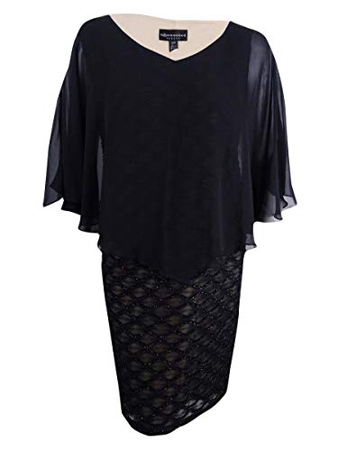 (Connected Women's Plus Size Embellished Chiffon-Overlay Dress (22W, Black/Nude))