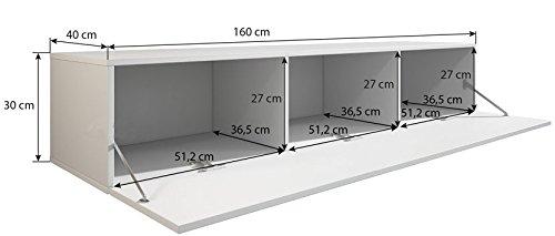 muebles bonitos Mobile TV sospeso Design Forli XL Nero - Larghezza: 160cm x  Altezza: 30cm x profondità: 40 cm, Anta a ribalta Orizzontale Lucida Porta  ...