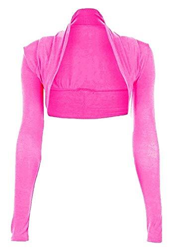 Hot Hanger Womens Long Sleeved Bolero Shrug Size 8-22 (16-18 LXL, Cerise)
