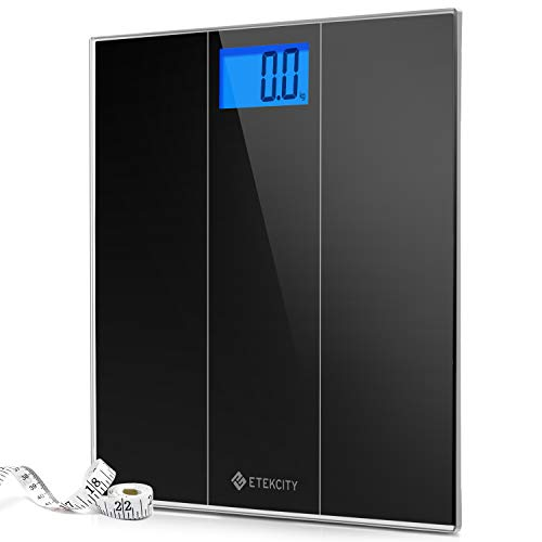 """Etekcity Digital Body Weight Bathroom Scale with Step-On Technology, 400 Pounds, Body Tape Measure Included, Elegant Black (12"""" x 12"""" upgrded Platform)"""