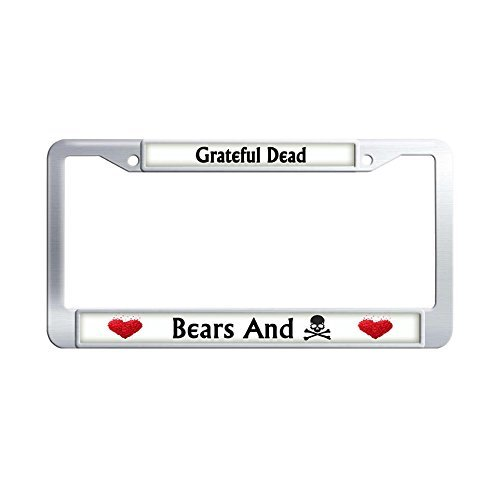 Jesspad Grateful Dead Bears And Skulls License Plate Frame Personalized Auto Car Frame Metal License Plate Cover Car Tag Holder,12 X 6 Inches -
