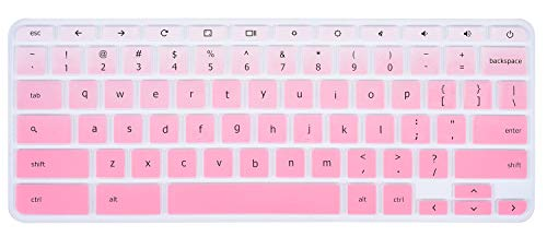 CaseBuy Keyboard Skin Cover for 2018/2017 Acer Chromebook R11/Chromebook 11 CB3-131 CB3-132/Chromebook R 11 CB5-132T/Chromebook R 13 CB5-312T/Chromebook 14/Chromebook 15 CB3-531 CB5-571, Gradual Pink