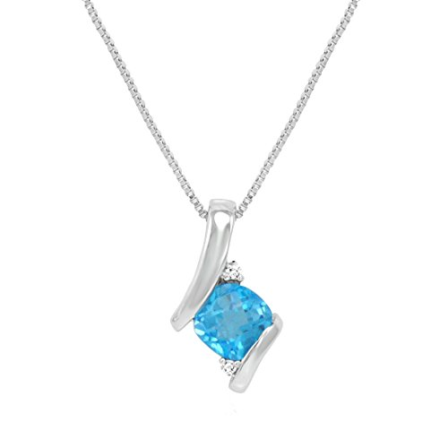Sterling Silver Swiss Blue Topaz and Diamond Pendant-Necklace, used for sale  Delivered anywhere in Canada