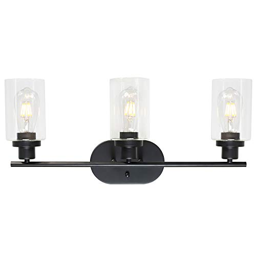 VINLUZ 3 Light Black Wall Sconces Bathroom Lighting Fixture with Clear Glass - Lights Bathroom Mirrors With Black