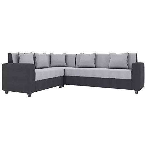 CasaStyle  6 Seater CasaLiving Fabric Corner Sofa Set  Grey Black