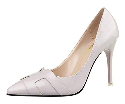 Minetom Damen Frühling Stylish Geschlossene Pumps Spitz High Heels Kleid Partei Stiletto Schuhe Hellgrau