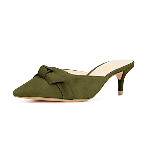 YDN Womens Low Heels Slide Sandals Pointed Toe Kitten Mules Slip on Pumps with Chic Bow Olive (Kitten Mule)