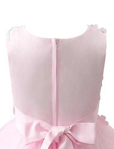 Bestickt Blumenmädchenkleid Kleid Linie Perlen Geburtstagsfeier Erosebridal Applique A OwgtH