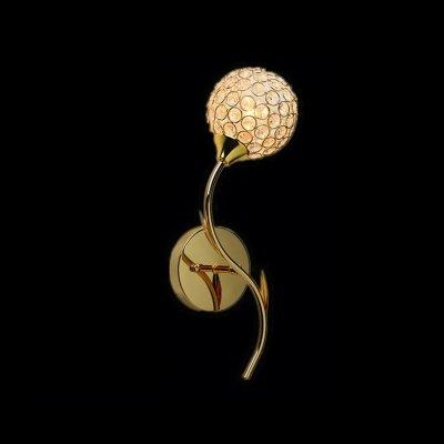 Diamond Globe Charm - hua Clear Diamond Crystal and Graceful Scrolls Add Charm to Delightful Gold Finish Wall Sconce