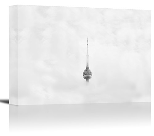 CN Tower Top Toronto Canada Art Print Wall Decor Image - Canvas Stretched Framed 12 x 18 - - Does Ship Usps Canada To