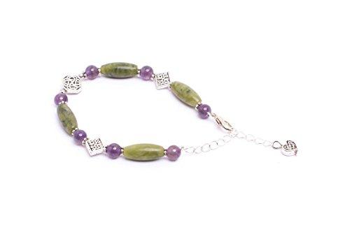 - Galanta Round Faceted Amethyst Bracelet with Connemara Marble, Handmade in Ireland
