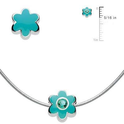 Girls Jewelry Silver Simulated Birthstone Flower Bead Snake Chain Necklace