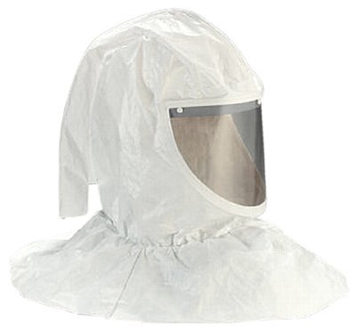3M H Series Tychem QC Fabric Standard Hood Assembly H-412/07044(AAD), with Collar and Hardhat, White