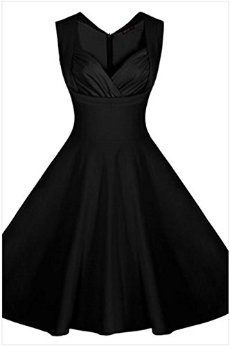 PEGGYNCO Womens Black Sweetheart Neck Retro Collared Skater Dress Size L