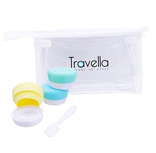 Silicone Travel Containers with Sealed Lids Set of 3 TSA App