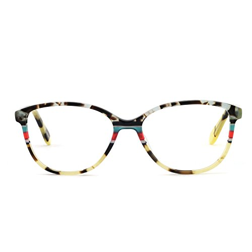 OCCI CHIARI Fashion Oval Acetate Eyeglasses Frame With Clear Lenses (Yellow pattern, -
