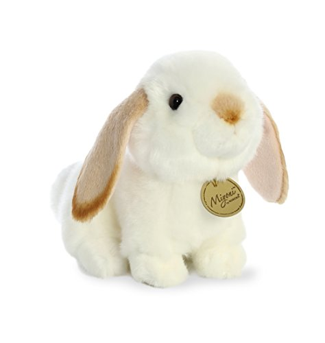 Aurora World Miyoni White Plush Lop Eared Rabbit with Tan Ears, Small