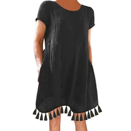 (Mysky Summer Women Casual Pure Color Tassel Hem Comfy Cotton Mini Dress Ladies Simple Short Sleeve Loose Dress Black)