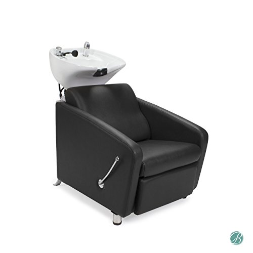KLYNE Shampoo Backwash Unit BROWN with WHITE Bowl w/Footrest, Faucet, Sink for Beauty Salon Hair Salon Styling