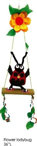 Whimsical Flower Ladybug on a Swing Bright & Colorful Twister - Spinner - Windsock Hanging Garden Decorative Scuplture Decor 36 Inches Tall ()