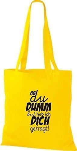 ShirtInStyle Bolso de tela Bolsa de algodón Tipo ya du DUMM estas lo tengo ich - fucsia, 38 cm x 42 cm amarillo